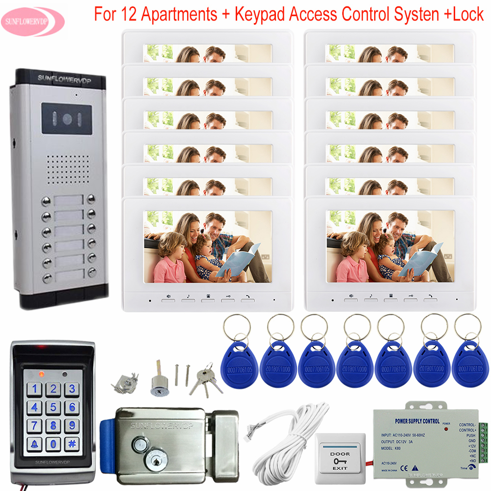 For 12 Apartments 7inchs Video Door Entry System For Home Keypad Access Control Video Door Bell System Unit With Electric Lock