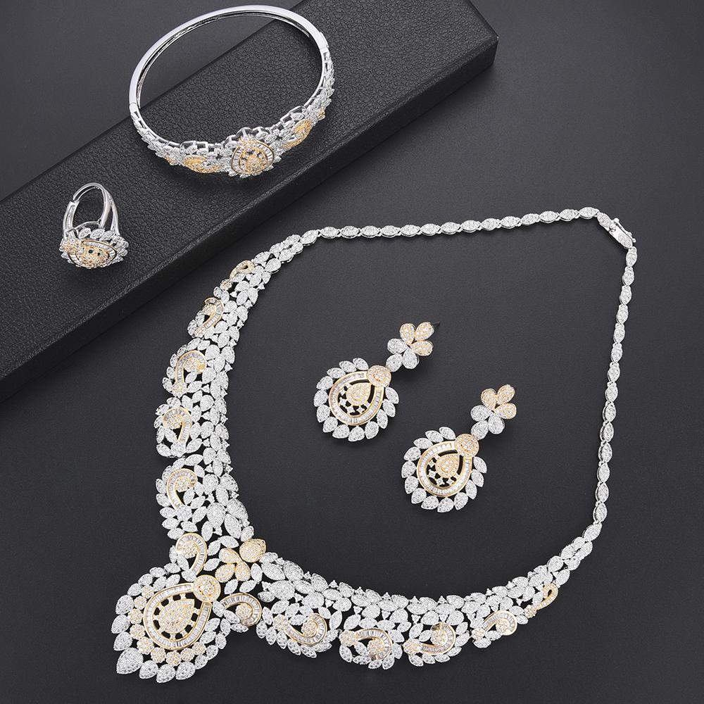 Deluxe Flower Dubai Jewelry Set Cubic Zirconia Necklace Earrings Bangle Ring fashion jewelry Bridal Wedding Jewelry For Women Deluxe Flower Dubai Jewelry Set Cubic Zirconia Necklace Earrings Bangle Ring fashion jewelry Bridal Wedding Jewelry For Women