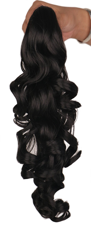 QQXCAIW Women Girls Natural Curly Blonde Black Brown Claw Ponytail 40 cm 150G Clip in Synthetic Hair Extension Pony Tail