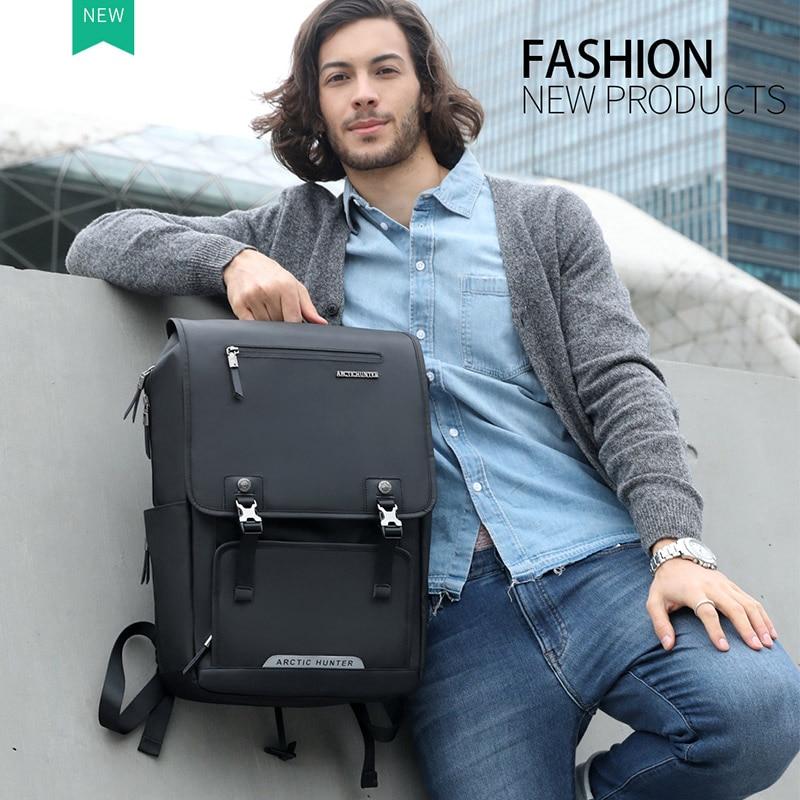 Arctic Hunter Usb Charge Port Backpack Large Capacity Laptop Backpack Men Travel Bag Oxford+pu Leather Back Packs Waterproof Bag