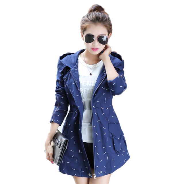 2016 Outono inverno novas Mulheres jaqueta corta-vento Com Capuz Longa seção fina Magro Imprimir Dot jaqueta casaco casuais casaco Solto
