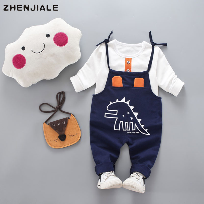 Newborn baby boys baby girls clothing 0~2 years old cartoon dinosaur clothes+overalls casual sports suit childrens clothes A-12