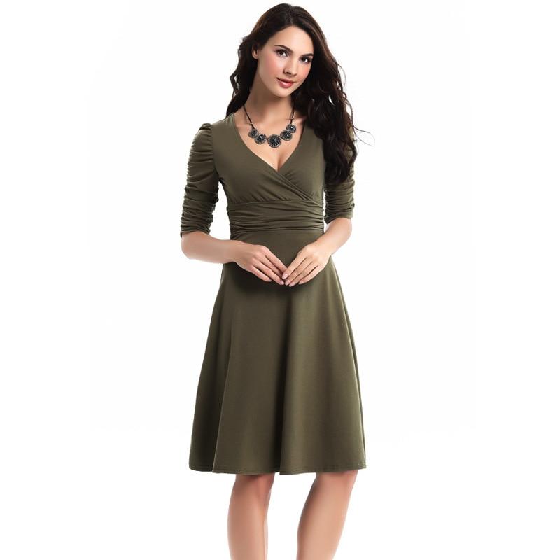 Womens Work Dress Plus Size Vintage Style Swing 1950s 60s Retro
