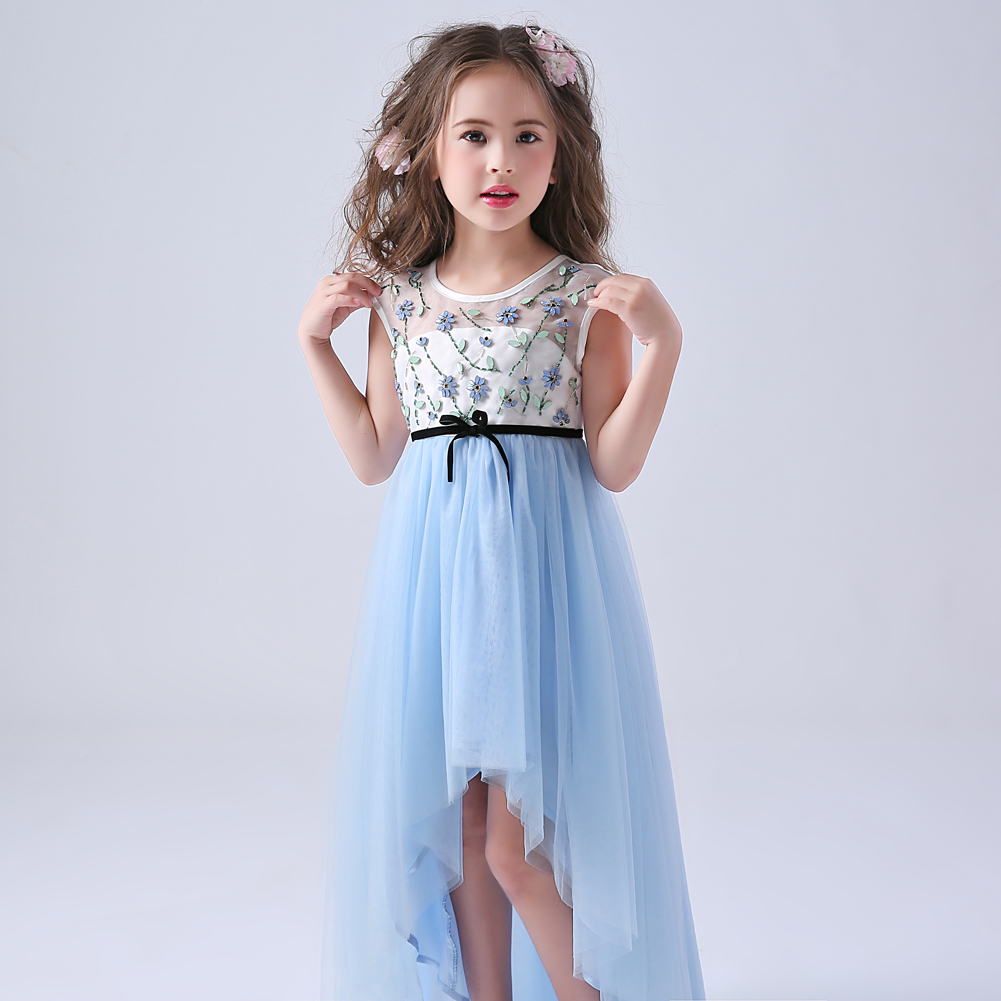 Long Back Short Front Light Blue Girl Formal Dress with Beading light blue cutout back