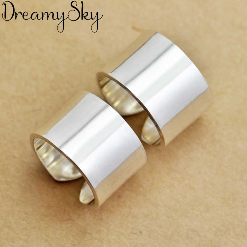 Romantic Style New Luxury 925 Sterling Silver Big Smooth Rings For Women Wedding Retro Adjustable Size Ring Party Gifts