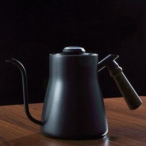Image 2 - 850ml 304 # paslanmaz çelik uzun dar borulu cezve Gooseneck su isıtıcısı el damla su isıtıcısı kahve üzerine dökün kapaklı termometre