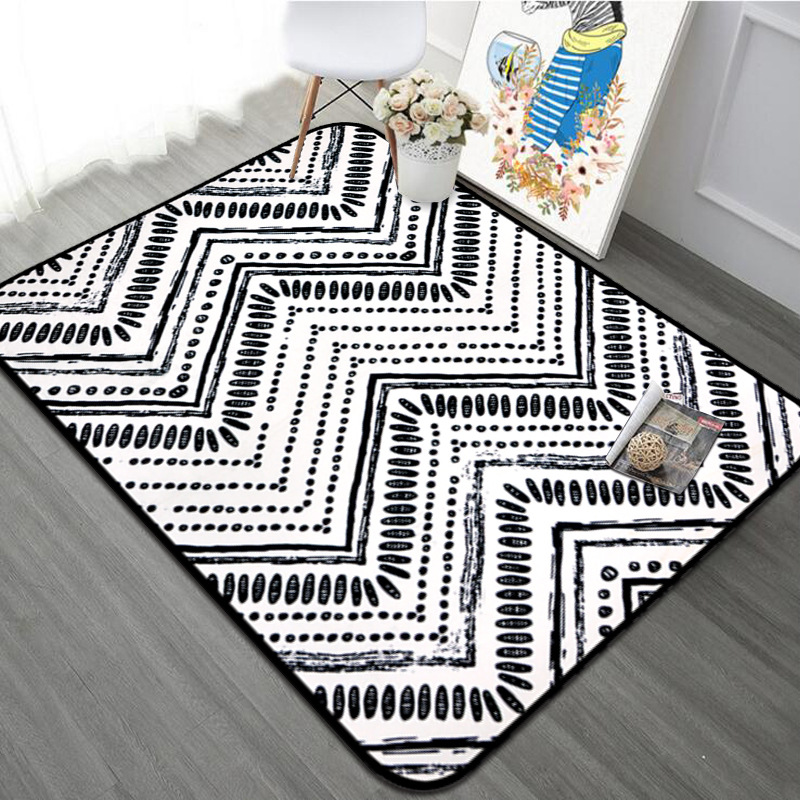 Us 33 92 41 Off Nordic Black White Geometric Ethnic Carpet Anti Slip Floor Rug Bath Mats Soft Kids Playing Carpets For Living Room Bedroom Rugs In