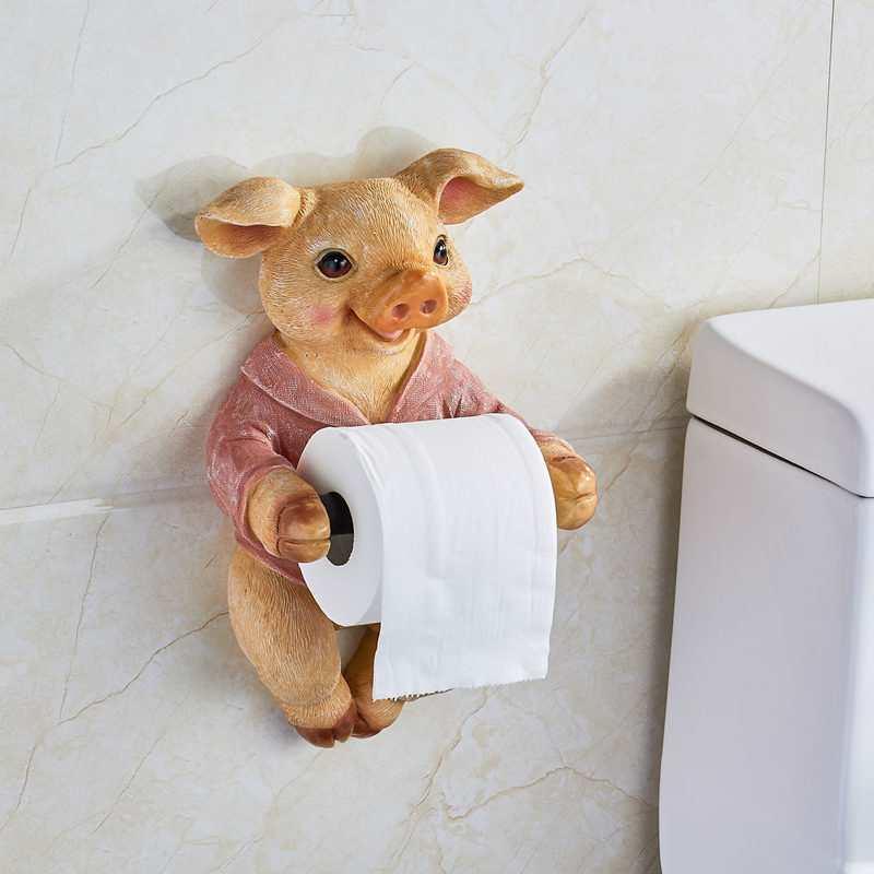 Creative Toilet Shelf Paper Towel Rack 3D Simulation Dog/Pig Tissue Storage Organizer Bathroom Roll Holder Accessorie R421