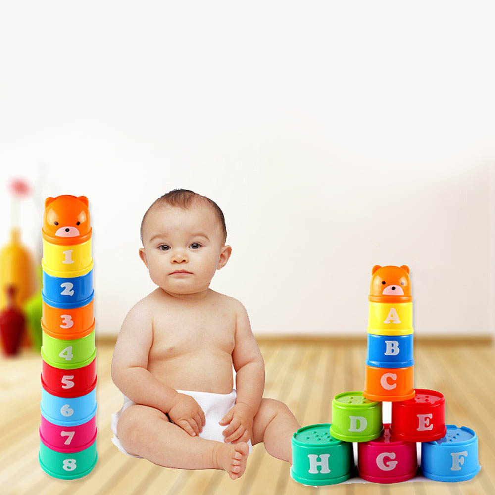 9pcs/set Stack Cup Tower Figures Letters Educational Baby Toys Foldind Children Early Intelligence 24 Months Babies Games