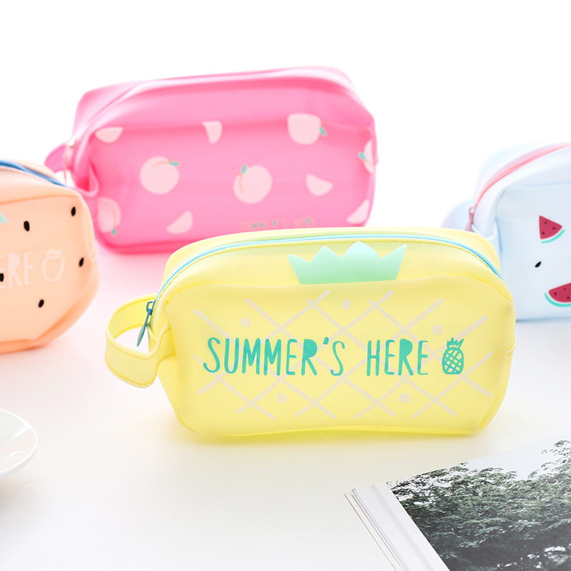New Fruit Large Capacity Silicone Pencil Case Stationery Kids School Pencil Cases Boys&Girls Pencil Case For School Supplies noverty large capacity multifunctional canvas pencil cases boys girls stationery bags for school supplies material escolar 04803