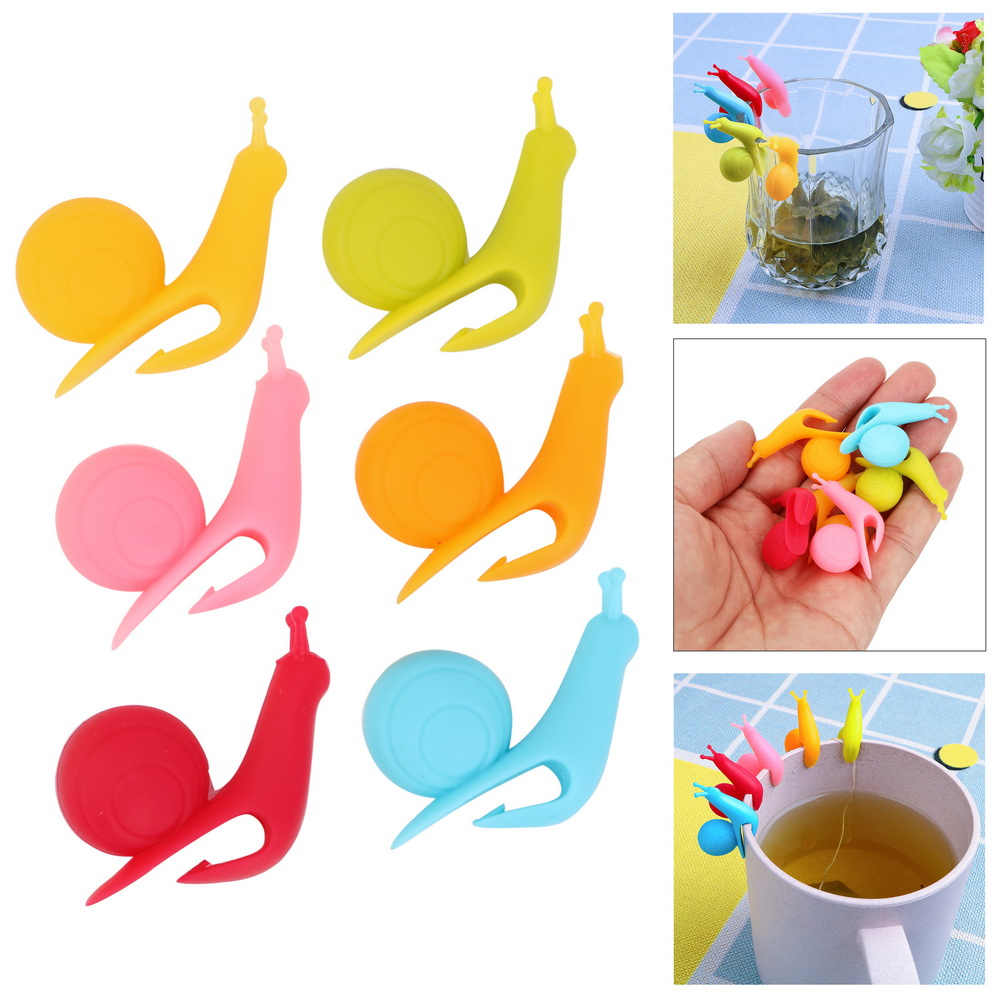 NICEYARD Cute Snail Shape Tea Bag Holder Cup Silicone Tea Tools Randome Color Tea Clips Mug Hanging Tool Cup Decoration Tool