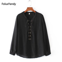 Lace Up Blouse Women New Autumn Style Plus Size 3 4 XL Casual Loose Long Sleeve
