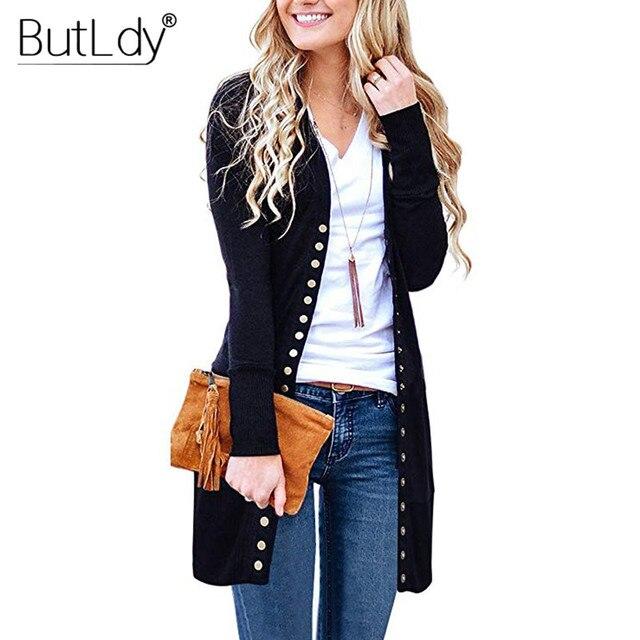 ארוך סוודר נשים כפתורים סרוג קרדיגן ארוך שרוול מצולעים מחשוף סריגי מעיל סתיו חורף 2019 אופנה מגשרי גבירותיי