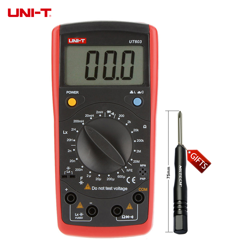 UNI-T UT603 Modern Inductance Capacitance Meters Testers LCR Meter Capacitors Ohmmeter w/hFE Test uni t ut603 2 7 lcd digital inductance capacitance tester red grey 1 x 9v