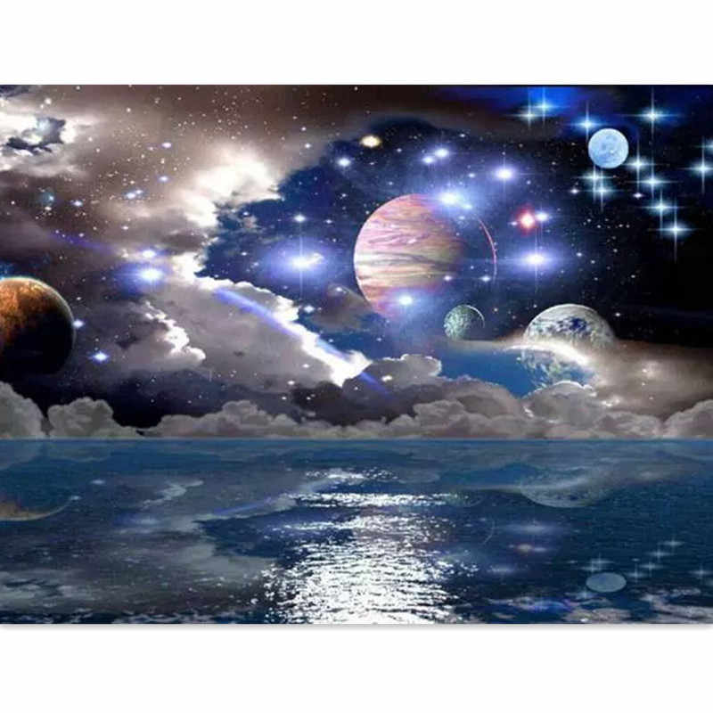 Pictures by numbers Diamond Painting Beautiful Mysterious Space and Stars Planet DIY 5D Diamond Embroidery Solar System Universe