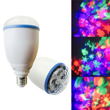 DJ lights Party Disco Kaleidoscope Lamp RGB LED Bulb Stage Light Home decor E27 3W Rotating free shipping
