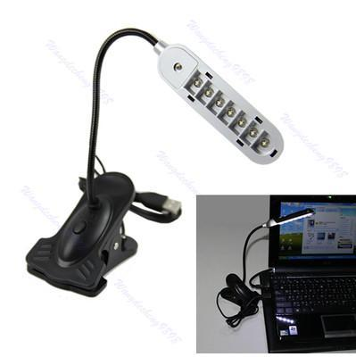 Гибкая 7 светодиодные Настольная USB свет лампы с зажимом для дома подарок портативных ПК Тетрадь