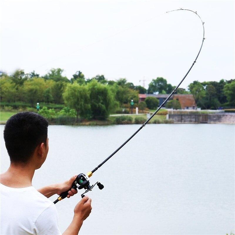 Ensemble de canne à pêche Sougayilang canne à pêche Baitcasting et moulinet Kits de pêche portables de voyage pour eau salée d'eau douce - 6