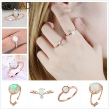 ROMAND Dainty Fire Opal Rings For Women Wedding Engagement Ring Rose Gold Bridal Promise Finger Girl Gift Jewelry R5