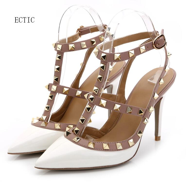 white Brand Women Pumps Pointed Toe High Heels Fashion Women Shoes Rivets Pumps Genuine Leather Ankle Strap High Heel 34-42 black square heel pointed toe hollow shoes women buckle strap fashion ankle strap high heels pumps white summer plus size ladies