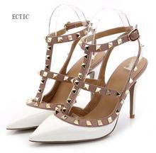 Белый Брендовые женские туфли-лодочки острый носок и высокий каблук Модные женские туфли Туфли-лодочки с заклепками Пояса из натуральной кожи Ремешок на щиколотке на высоком каблуке 34-42