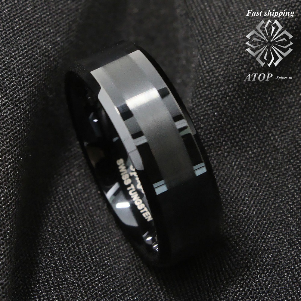 It is a picture of US $42.42 42Mm ATOP Brushed Center black Tungsten Carbide ring Wedding Band Mens JewelryWedding Bands - AliExpress