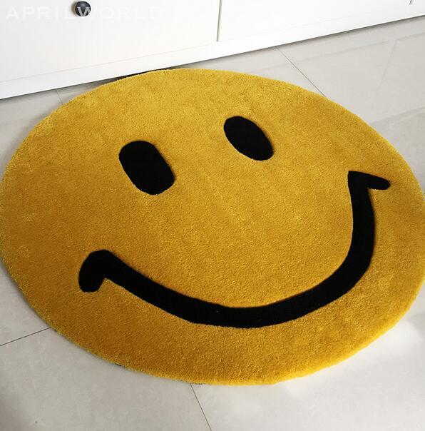 Super épais sourire visage rond tapis petits tapis chambre enfants tapis de bain chambre tapis antidérapant 70*70 80*80 90*90 CM tapis d'ordinateur