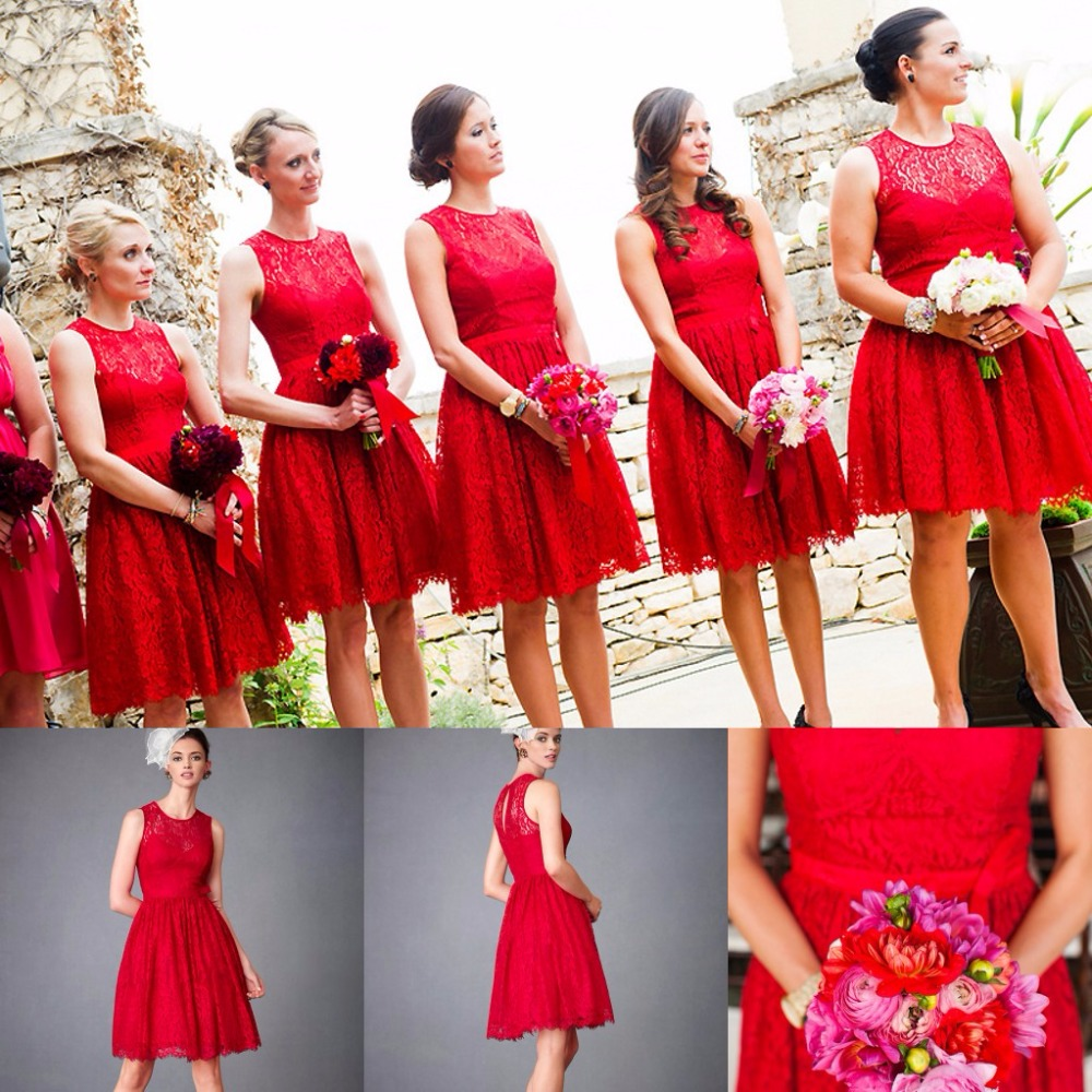 Online buy wholesale red lace bridesmaids dresses from china red summer beach red lace bridesmaid dresses for wedding hot sales 2017 new a line short garden ombrellifo Choice Image