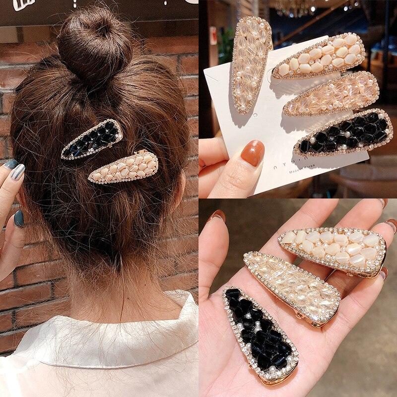 Korean geometry hairpin big drop crystal rhinestones hair clip irregular headdress women barrettes girls stone hair accessories in Women 39 s Hair Accessories from Apparel Accessories