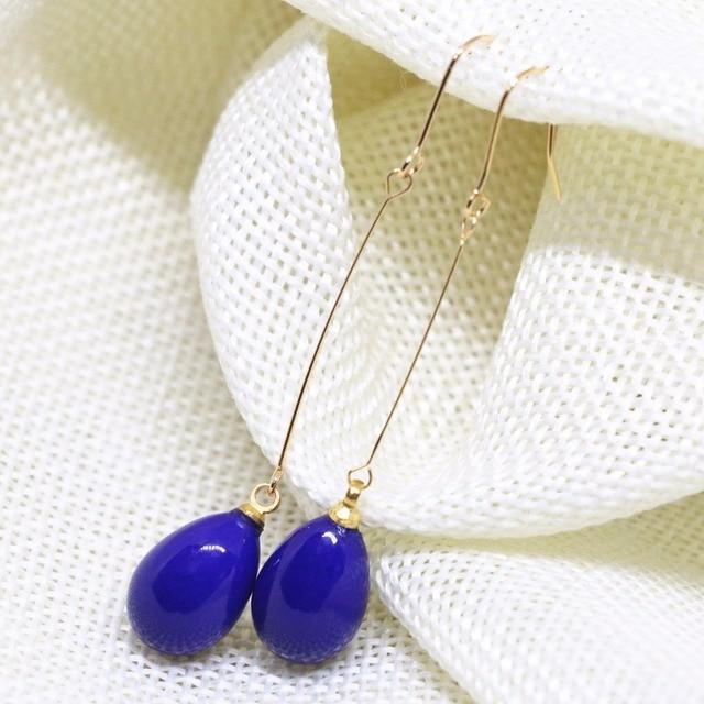 6ed210d160d5 € 2.26 30% de DESCUENTO|Dijes elegantes pendientes largos de lágrima de  color azul oscuro para mujeres de vidrio de pintura para hornear 9*13mm de  ...