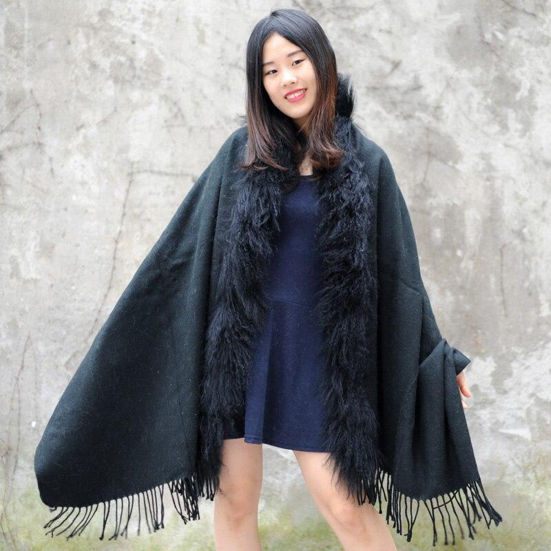 CX-B-P-04C, Женский натуральный мех монгольского ягнёнка, шаль из пашмины с мехом