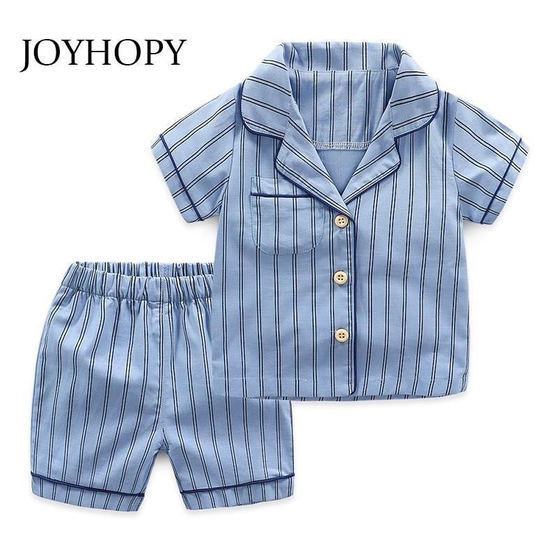 New Summer Children Pajamas Striped Cotton Sleepwear Baby Pajamas Set For Boys Underwear Clothing Kids Suits Shirt+Shorts 2pcs