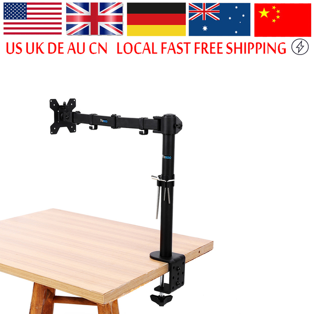 Single Arm Lcd Monitor Desk Mount Stand Fully Adjustable Screen Up