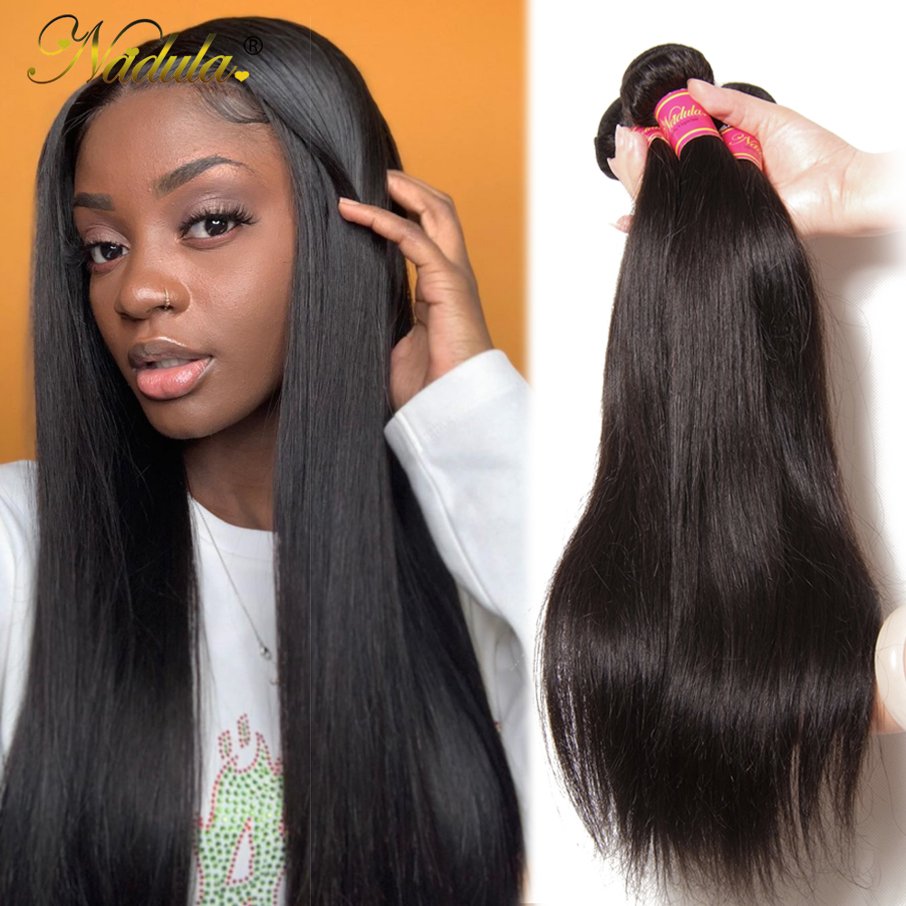 Nadula Hair Indian Glattes Haar 3 / 4Bundles Indian Hair Glatt - Menschenhaar (für Schwarz)