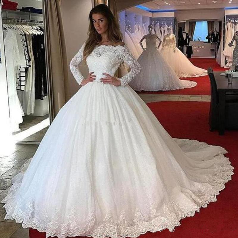2019 Ball Gown Wedding Dresses Lace Long Sleeves Boat Neck Lace Appliques Puffy Tulle Princess Bridal