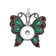 6pcs/lot Wholesale Green enamel Snap Jewelry 18mm Butterfly Snap Pendant Necklaces for women fit 18-20mm Snap Button  ASD02888
