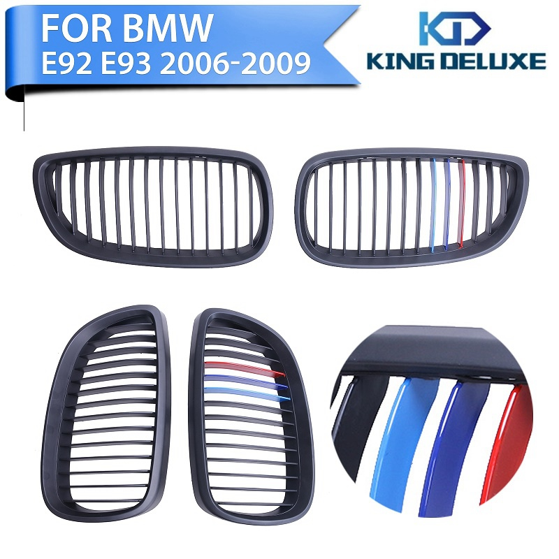 ФОТО 2x Matte Black Mix color Front Grilles Kindly Grill Lattice For BMW E92 E93 328i 335i M3 2007 2008 2009 2010 Car Styling #P211