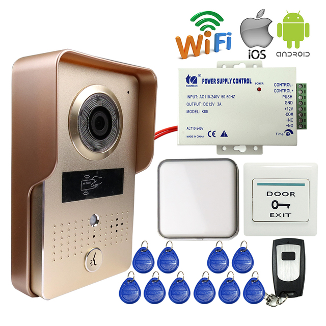 Free Shipping Wireless Wifi Doorbell Camera Video Intercom for Phone Remote View Unlock RFID Reader + Wireless Bell + 12V Power