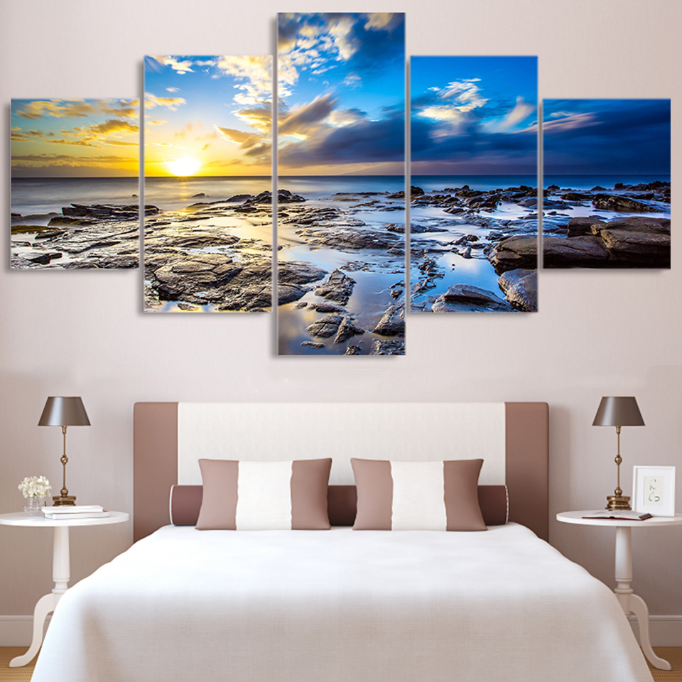 Modern Canvas Wall Art HD Printed Painting 5 Panel Sunrise