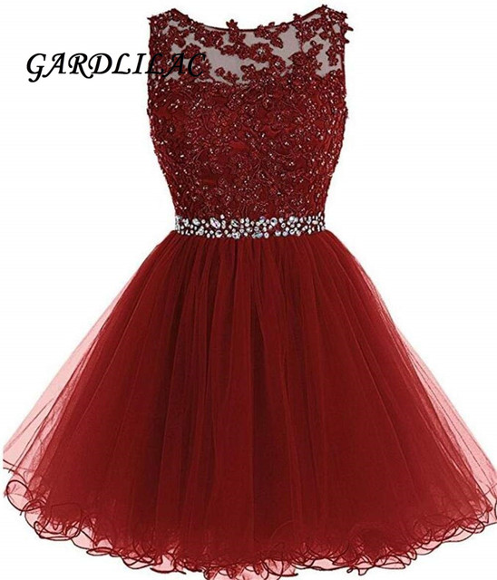 Hot Sale Homecoming Dress 2019  Short Prom Dress Beaded Tulle Appliques Party Cocktail Wedding Party Dress