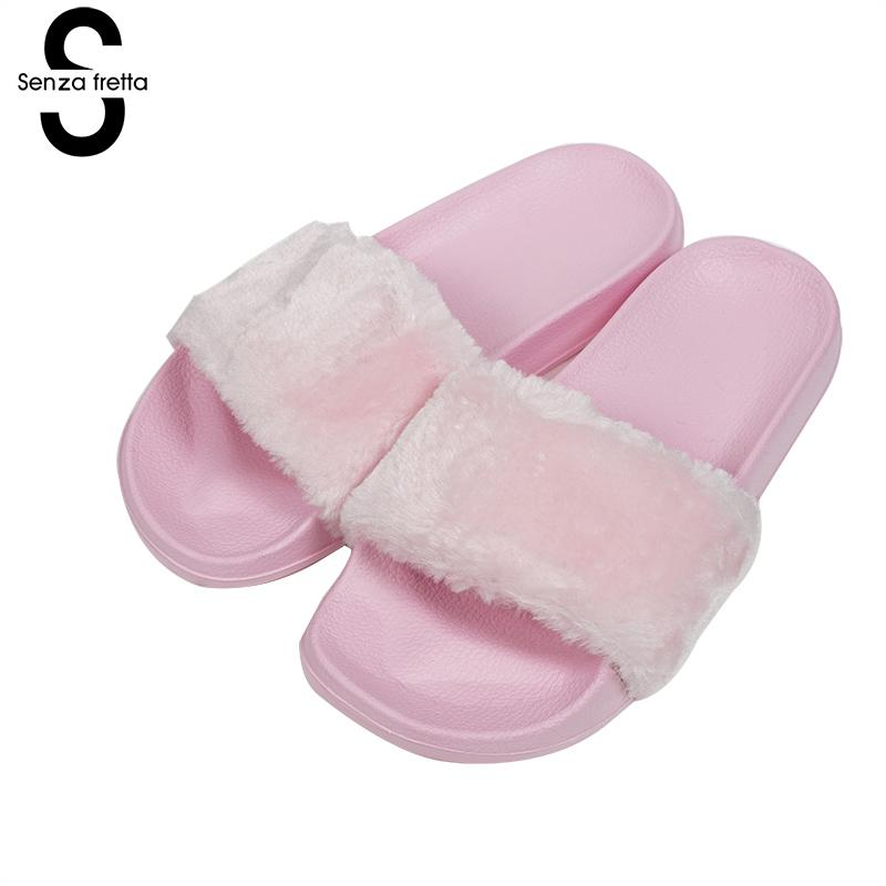 Senza Fretta Autumn Shoes  Woolen Women Slippers Open Toe Thicken Antiskid Solid Color Slippers Plush Indoor Outdoor Women Shoes woolen monster house shoes slippers color assorted pair