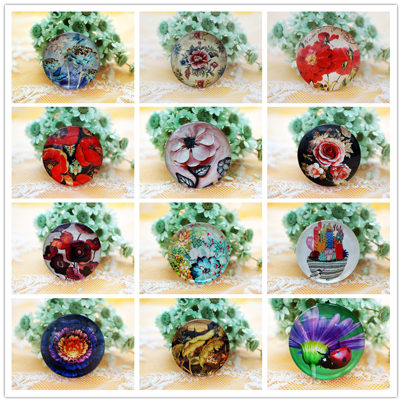 10PCS/lot Round 8-20MM Flower Glass Cabochon For Make Bracelet Necklace Jewelry For Women 2019 Earring Pins Brooch Craft Supply