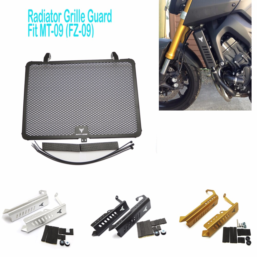 MT 09 (FZ 09) 2017 Black Radiator Grills Grille Guard Cover Protector  For Yamaha MT09 MT-09 FZ-09  2014 2015 2016 2017New motorcycle radiator grill grille guard screen cover protector tank water black for bmw f800r 2009 2010 2011 2012 2013 2014