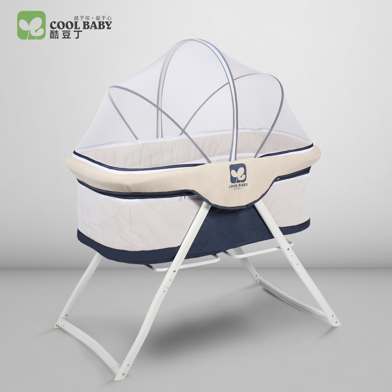 Coolbaby Baby Bed, European Style Free Installation, Multi-function Game Folding Portable Travel Cradle Bed