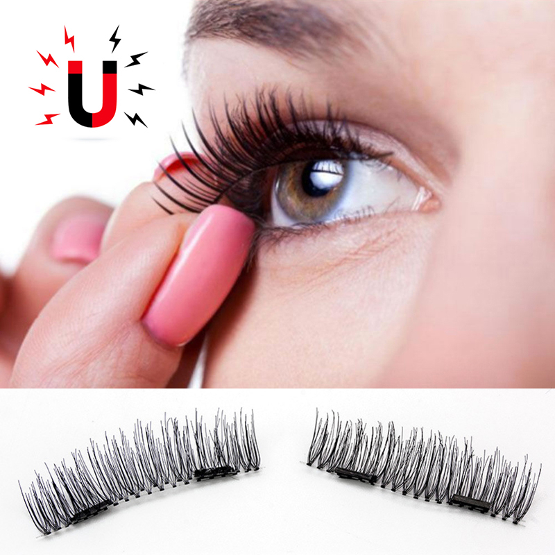 4pcs Double Magnetic Eyelashes Maquiagem False Lashes Long Magnetic Lashes False Eyelashes High Quality Makeup 3d Lashes Kit Se