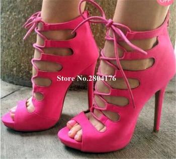 Women New Fashion Peep Toe Suede Leather Stiletto Heel Gladiator Sandals Lace-up Platform High Heel Sandals Dress Heels фото