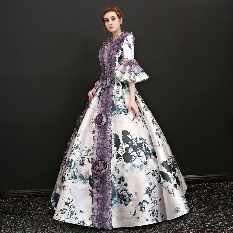 De Robe Robes Picture Personnalisé Baroque Fête Carré Manches Princesse Evasées Costumes Cou Antoinette 2018 Marie Noël As Demi Théâtre qwXU6IX