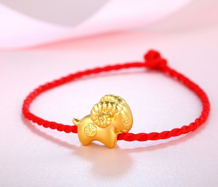 Pure 999 24k Yellow Gold pendant/ 3D Bless Lucky Zodiac Goat Pendant