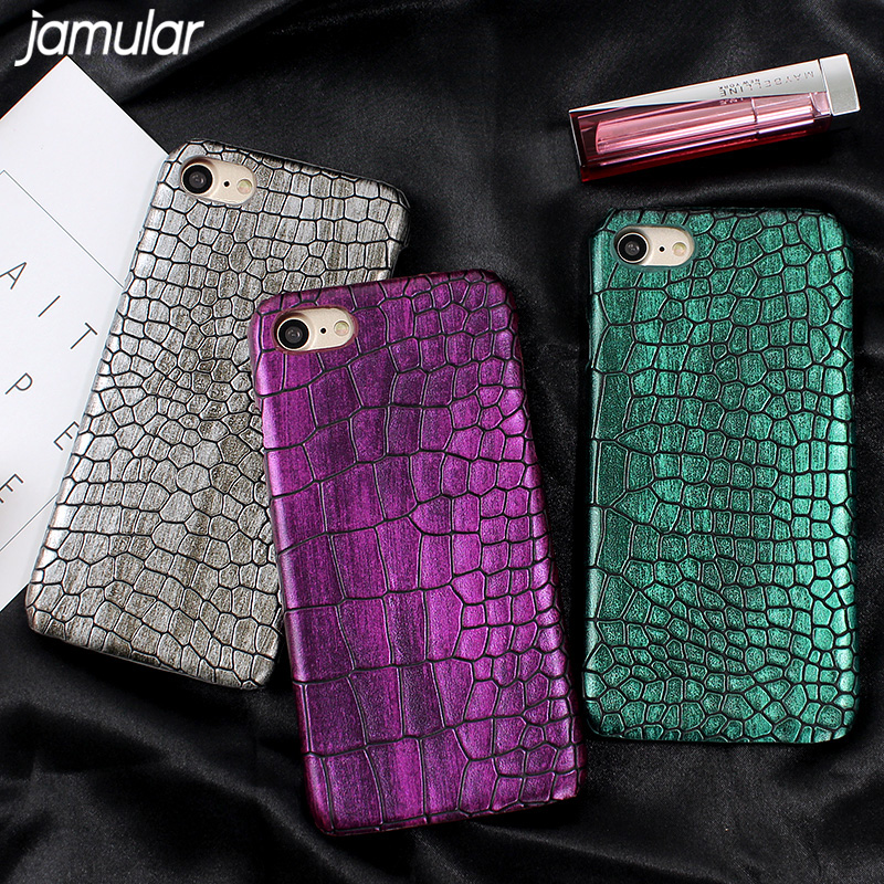 JAMULAR Crocodile Snake Pattern PU Leather Cover for iPhone 8 7 6 6s Plus Matte Hard Case for iPhone x 6 6s 7 Phone Shell Coque