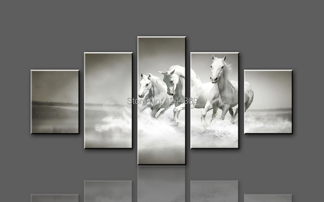 W707 3 White Horse Running 5 Panel Large HD Canvas Print Painting Artwork WHOLESALE